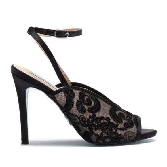 2f6ff8c73bd533 Betsey Johnson Lula Embroidered Ankle Strap Pumps